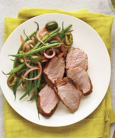 Spiced Pork Tenderloin With Green Beans and Olives recipe from realsimple.com #myplate #protein #vegetables