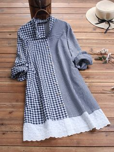 O-NEWE Plaid Patchwork Stand Collar Button Plus Size Shirt can cover your body well, make you more sexy, Newchic offer cheap plus size fashion tops for women. Stylish Dresses For Girls, Unique Dresses, Casual Dresses, Fashion Dresses, Plus Size Shirts, Plus Size Blouses, Long Sweater Dress, Casual Tops, Clothes For Women