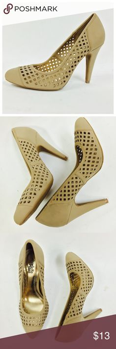 """⚡️NWOT Cut Out Pointy Toe Pump ❗️with flaws❗️ Polish off your look with these stylish pointy toe pump. Featuring nubuck upper with cut outs design, scooped vamp, and wrapped heel. Finished with padded insole and easy slide style.  ~Material: Nubuck (man-made) ~Sole: Rubber Heel Height: 4"""" (approx)  Fitting: True to size. ❗️item was not properly stored, stains/flaws as shown in pictures ❗️💰 price is FIRM❗️ Shoes Heels"""