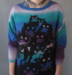 Oversize Purple Fade Kitty Sweater XS. $78.00, via Etsy.