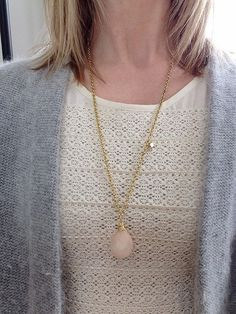 long peach quartz necklace with gold chain by Littlespaniel