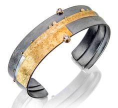 Narrow Diamond Strata Cuff by Sydney Lynch (Gold, Silver & Stone Bracelet) Metal Bracelets, Jewelry Bracelets, Jewelry Art, Jewelry Design, Jewellery, Minimalist Jewelry, American Jewelry, Stone Bracelet, Artisan Jewelry