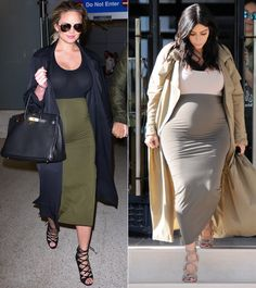 Every Time Chrissy Teigen Channeled Kim Kardashian's MaternityStyle - Color-Blocking and Cage Booties  - from InStyle.com