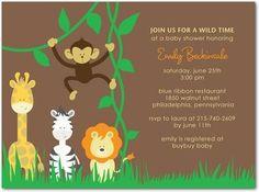 Giraffe, Zebra, Monkey & Lion Safari Baby Shower Invitations in Brown