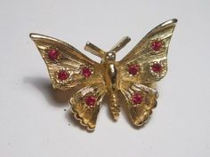 Vintage Goldtone Petite Butterfly Brooch with In-set Red Rhinestones #Unbranded