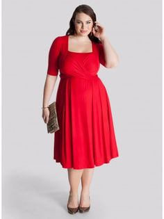 Tiffany Plus Size Dress in Mandarin Red