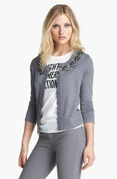 kate spade new york 'leni' embellished cardigan available at #Nordstrom. Classic kate spade in more muted colors for fall. Great neutral cardigan to add as a wardrobe staple.