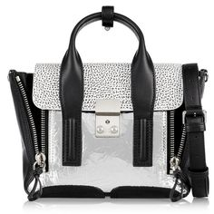 3.1 Phillip Lim The Pashli mini textured-leather trapeze bag ($955) ❤ liked on Polyvore featuring bags, handbags, shoulder bags, silver, clasp purse, 3.1 phillip lim handbag, white purse, zipper handbag and mini purse