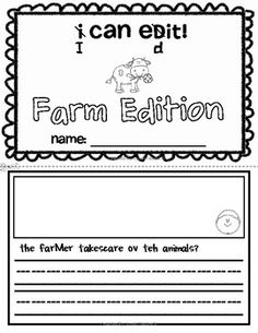 I Can Edit! Sentence Editing for Kindergarten and 1st Farm Edition -Skills include: capitalization, punctuation, spacing, and sight word spelling.  Love2TeachKG - TeachersPayTeachers.com