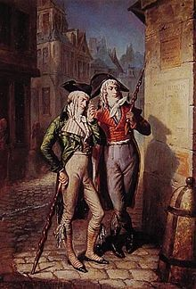 "Two muscadins, or Incroyables, in 1795, carrying their ""constitutions"". The term Muscadin, meaning ""wearing musk perfume"" came to refer mobs of young men, relatively well-off and dressed in a dandyish manner, who were the street fighters of the Thermidorian Reaction in Paris in the French Revolution."