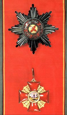 "Russian Imperial Order of Chivalry - Order of St. Anna est.1735. Motto: ""Amantibus Justitiam, Pietatem, Fidem"" (To those who love justice, piety, & fidelity). For distinguished career in civil service or valour & distinguished military service. Entitled first class recipients to hereditary nobility while other recipients to personal nobility. 1st class: Cross worn at the bow of a broad ribbon worn over left shoulder on the right hip; star of the Order worn on the right breast."