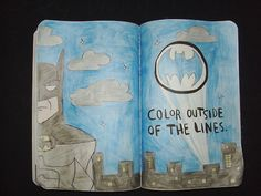 color outside the lines, batman - wreck this journal wtj