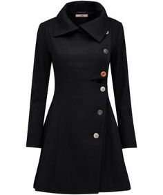 """Taking the classic black coat to a new level is so easy with our Ultimate Coat. It's the details that make the difference - assorted buttons on the front and back add cuteness, while the off-centre button fastening adds a quirky feel. Approx Length: 88cm Our model is: 5'7"""""""