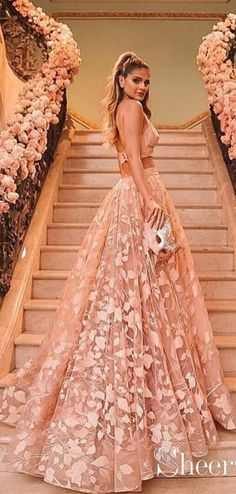 7564153fd2 Halter Backless Pink Lace Prom Dresses Two Piece Floral Formal Dress ARD2019