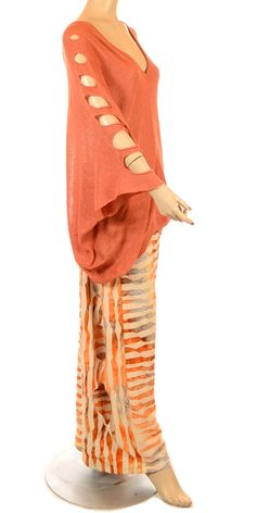 Mat New Season Coral Batwing Sleeve Summer Knit-Mat, lagenlook, womens plus size UK clothing, LOVE the style and colors!