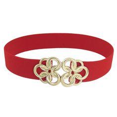 Lady Gold Tone Circle Flower Buckle Stretch Waist Cinch Belt | eBay
