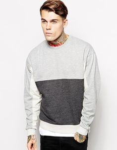 ASOS Oversized Sweatshirt With Colour Block Panels