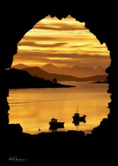 The end of a perfect day in Scotland as the sun sets on the Cuillins, Isle of Skye, Inner Hebrides, seen from the ruins of Strome Castle. Portal, West Coast Scotland, Places Around The World, Beautiful Landscapes, Places To See, Landscape Photography, Cool Photos, Sunrise, Beautiful Places