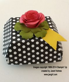 Cute little gift box made using Stampin' Up's new Hamburger die!!