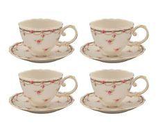 Tea Set of 4 Gracie China Pink Petite Fleur Porcelain 7-Ounce Cup Saucer Flowers