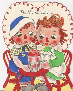 Volland Raggedy Ann Andy 1949 Vtg Unused Valentine Greeting Card