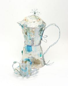 Espresso Pot & Cup by priscilla jones Textiles, Art Articles, Tea Art, Everyday Objects, Textile Artists, Wire Art, Food Illustrations, Fabric Art, Mixed Media Art