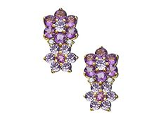 Tanzanite and Amethyst Flower Drop Earrings in 14K Gold from #Jewelry.com