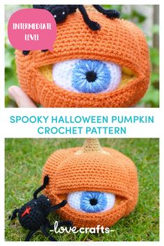Crochet Pumpkin with one eye and red cross black spider. A great decoration idea for Halloween | Downloadable pattern from LoveCrafts.com Crochet Eyes, Crochet Mask, Crochet Gifts, Crochet Dolls, Knit Crochet, Things To Crochet, Crochet Pumpkin Pattern, Crochet Applique Patterns Free, Halloween Crochet Patterns