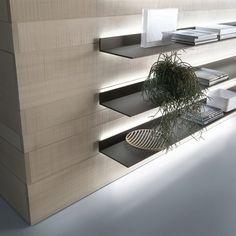 Eos shelves with brown aluminium frame and matt caffè lacquered glass.