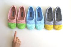 Crochet Slippers for Women in Apple Green and by WhiteNoiseMaker
