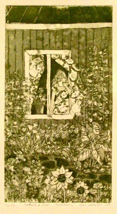 Aamukahvi ikkunalla, esaus ja akvatinta, pehmeäpohjasyövytys