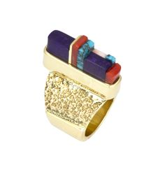 Ring | Charles Loloma. 18k gold inlayed with gel sugilite, Mediterranean coral and gem quality Lone Mountain turquoise