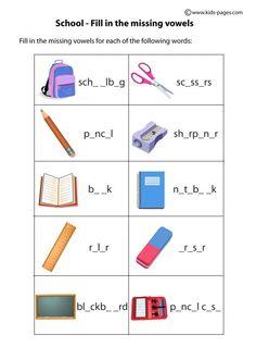 School Objects Matching B&W worksheets English Games For Kids, English Grammar For Kids, English Worksheets For Kids, English Lessons For Kids, English Activities, Teaching English, Learn English, Shapes Worksheet Kindergarten, School Worksheets