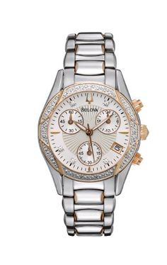 """Bulova Women's 98R149 """"Anabar"""" Stainless Steel Watch  From the Anabar Collection.  Chronograph in stainless steel with two-tone rose-gold and silver ion-plated finish, 21 diamonds individually hand-set on case and patterned white mother-of-pearl dial, domed crystal, luminous hands, calendar, small sweep, 24-hour subdial, deployment buckle and water resistance to 30 meters. Domed mineral crystal Domed mineral crystal White Mother of Pearl dial 16 diamonds on case, 5 on dial Domed mine.."""