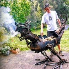 Unusual Bar B Ques - BBQ creative ironwork - dragon griffon griffin gargoyle call it what you may..