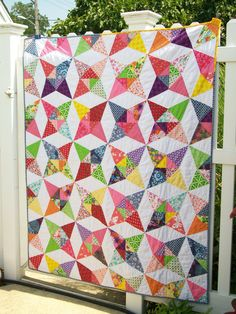 Colorful scrappy Kaleidoscope patchwork lap couch throw youth bed  quilt blanket