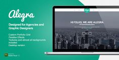 Alegra - Portfolio Muse Theme . Alegra is a theme developed in Adobe Muse, especially for advertising agencies or freelance designers who need a creative and clean online