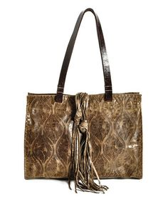 This Olive Vintage Leather Tote by Carla Mancini is perfect! #zulilyfinds