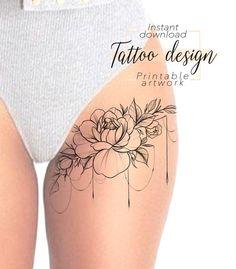 Tattoo design Floral Digital female floral pattern design to print, tattoo for thigh hip shoulder blade back, unique woman tattoo art Unique Tattoos For Women, Leg Tattoos Women, Shoulder Tattoos For Women, Feminine Shoulder Tattoos, Tattoos Bein, Body Tattoos, Cute Tattoos, Lace Tattoo Design, Flower Tattoo Designs