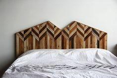 Pieced recycled wood creations by Ariele Alasko Reclaimed Wood Headboard, Salvaged Wood, Recycled Wood, Custom Headboard, Headboard Ideas, Handmade Headboards, Rustic Headboards, Bed Headboards, My New Room