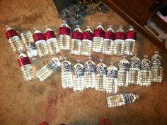Duct tape water bottles for a littles girls zebra themed, park birthday party