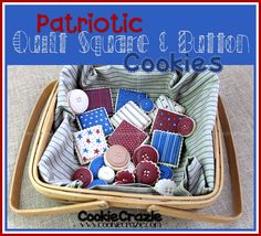 Patriotic Quilt Square & Button Cookies  http://www.cookiecrazie.com/2012/06/patriotic-quilt-square-button-cookies.html