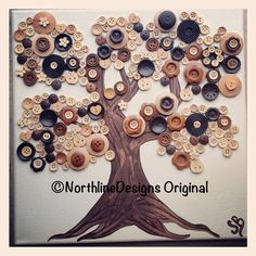 Original, Handmade FALL BUTTON ART -  All-Wood Buttons Adorn Hand Painted Tree on Gallery-Wrapped Canvas.. $65.00, via Etsy.