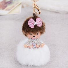 Hot Sale Cute Cartoon Rabbit Fur Ball Plush Monchichi Keychain for Key Holder Women Handbag Charm Key Chains