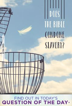 Question of the Day: Does the Bible condone slavery? Read answer here: Question Of The Day, This Or That Questions, Inspiring Quotes About Life, Inspirational Quotes, Life Quotes, Bible, Reading, Campaign, Medium