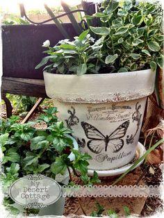Garden project - paint and stencil flower pot