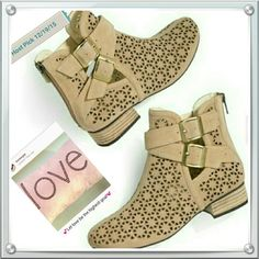 """***Host Pick Insta Chic Party*** 12/19/15 Perforation is in! All-season booties are in! Two trends combined for some seriously irrestible footwear! Perforated in a springy pinwheel pattern, these nude-colored booties, with their airy design, are ideal for transitional weather right into the sweltering days of summer. Leather (suede) New    1 1/4"""" heel /Half sizes order up/ Back zipper for easy-on, easy-off/ Padded footbed to keep it cozy Shoes Ankle Boots & Booties"""