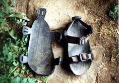 Tire Sandals: Innovative footwear recycled from old tires. Contains printable pattern