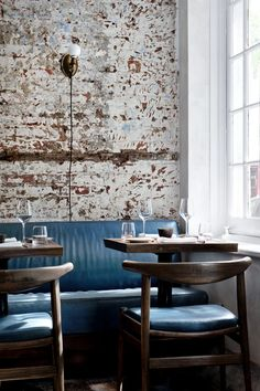 Brick Slips Restaurant and Cafe Inspiration Gallery - Brick Slips Modern Brass Chandelier, Walnut Timber, Room Interior Design, Blog Design, Places To Eat, Branding Design, Dining Chairs, Furniture, Drink