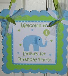 PRINTABLE - Little Peanut Blue Elephant Birthday Invitation - Boy (Blue & Green) by The Party Paper Fairy. $12.50, via Etsy.